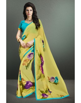 Casual Wear Yellow Georgette Saree  - 17157