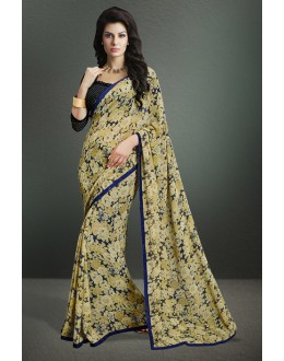 Ethnic Wear Beige Georgette Saree  - 17158