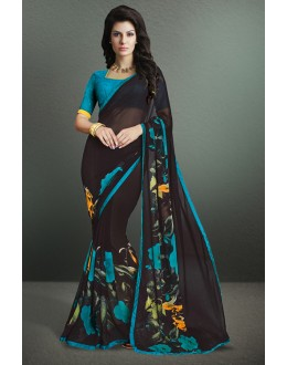 Casual Wear Black Georgette Saree  - 17160