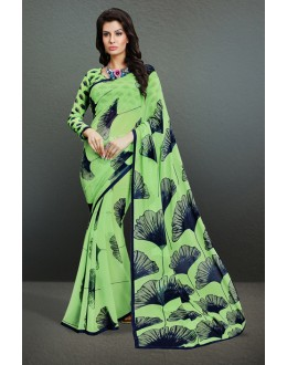 Ethnic Wear Light Green Georgette Saree  - 17161