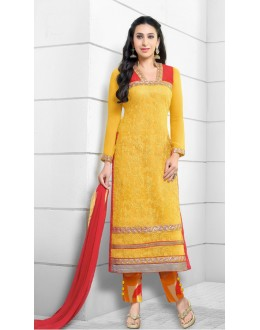 Karishma Kapoor In Yellow Georgette Salwar Suit  - 17165