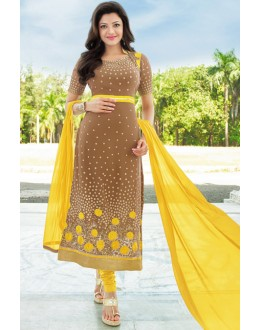 Office Wear Light Brown Georgette Salwar Suit - 17173