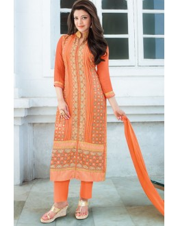 Office Wear Orange Georgette Salwar Suit - 17175