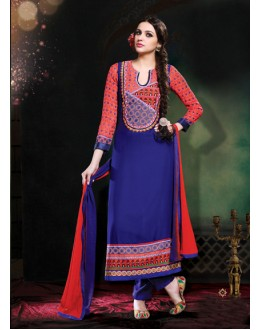 Ethnic Wear Red & Blue Georgette Salwar Suit - 17183