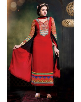 Festival Wear Red Georgette Salwar Suit - 17185