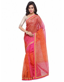 Ethnic Wear Multi-Colour Cotton Silk Bandhani Saree  - 17209