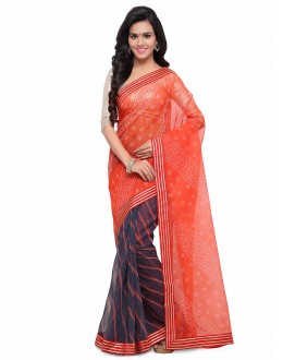 Multi-Colour Half & Half Cotton Silk Bandhani Saree  - 17210