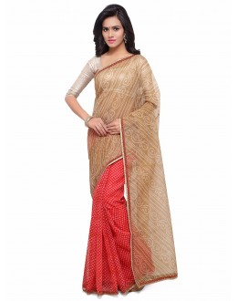 Multi-Colour Cotton Silk Half & Half Bandhani Saree  - 17212