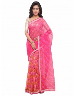 Ethnic Wear Multi-Colour Cotton Silk Bandhani Saree  - 17213