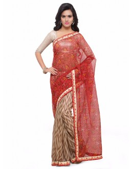 Casual Wear Multi-Colour Cotton Silk Bandhani Saree  - 17214