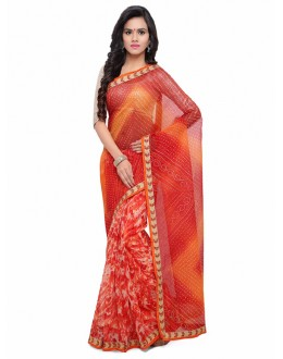 Ethnic Wear Multi-Colour Cotton Silk Bandhani Saree  - 17215