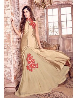Festival Wear Cream Bhagalpuri Silk Lehenga Suit  - 17224