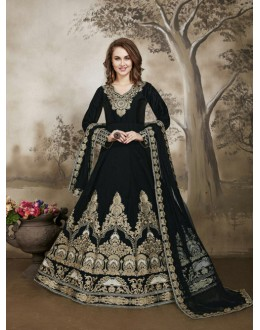 Party Wear Black Tafeta Silk Anarkali Suit - 17229