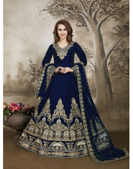 Festival Wear Blue Tafeta Silk Anarkali Suit - 17231