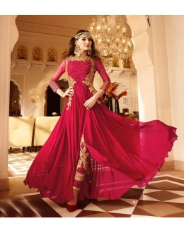 Fastivel Wear Royal Pink Georgette Slit Salwar Suit - 17236