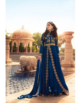 Party Wear Deep Blue Georgette Anarkali Suit - 17237