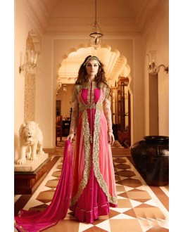 Weadding Wear Cream & Pink Georgette Anarkali Suit - 17239