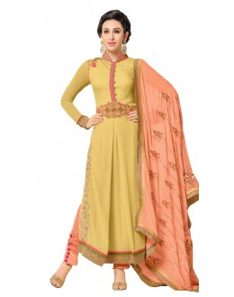 Karishma Kapoor In Off Yellow Georgette Salwar Suit  - 17246