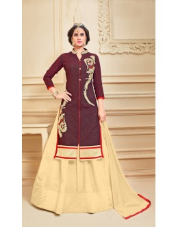 Dark Brown Colour Chanderi Cotton Lehenga Suit  - 17274