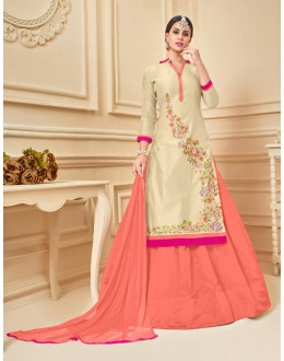 Ethnic Wear Beige Chanderi Cotton Lehenga Suit  - 17276