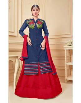 Festival Wear Blue Chanderi Cotton Lehenga Suit  - 17277