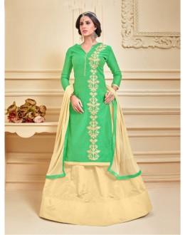 Ethnic Wear Chanderi Cotton Lehenga Suit  - 17278