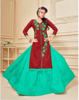 Ethnic Wear Chanderi Cotton Lehenga Suit  - 17280