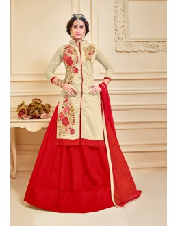 Festival Wear Chanderi Cotton Lehenga Suit  - 17281