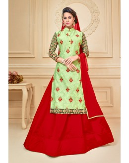 Ethnic Wear Chanderi Cotton Lehenga Suit  - 17283