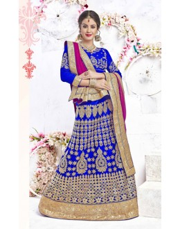Bridal Wear Royal Blue Net Lehenga Choli - 17320