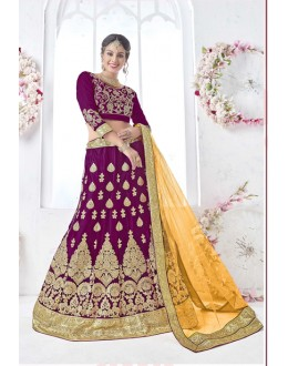 Wedding Wear Violet Net Lehenga Choli - 17323