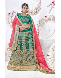 Green Colour Net Designer Lehenga Choli - 17324