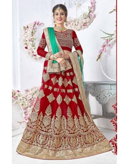 Wedding Wear Red Net Lehenga Choli - 17327
