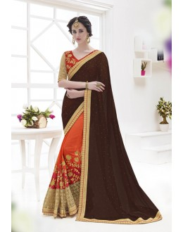 Brown & Orange Georgette Half & Half Saree  - 17375