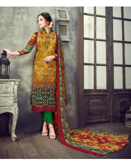 Casual Wear Multi-Colour Cambric Cotton Salwar Suit - 17944