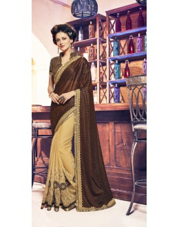 Ethnic Wear Brown & Cream Lycra Saree  - 17946