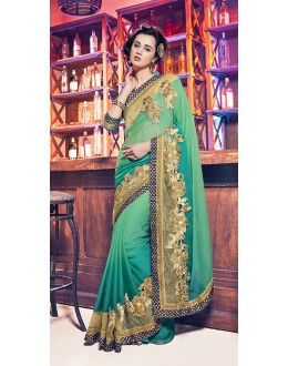 Ethnic Wear Green Georgette Saree  - 17949