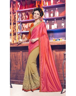Pink & Cream Paper Silk Half & Half Saree  - 17951