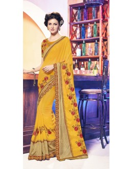 Festival Wear Yellow Moss Chiffon Saree  - 17952