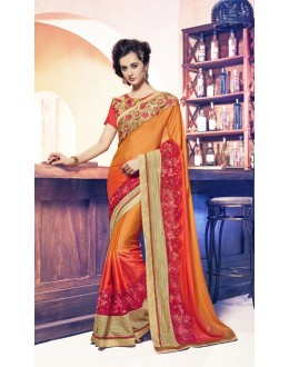 Party Wear Orange Banglori Saree  - 17956