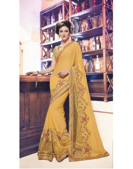 Designer Yellow Soft Chiffon Saree  - 17958