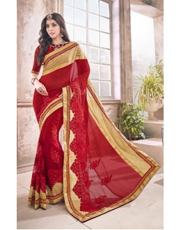 Ethnic Wear Red Pure Georgette Saree  - 17961
