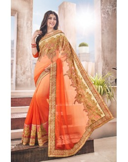 Party Wear Multi-Colour Georgette Saree  - 17963