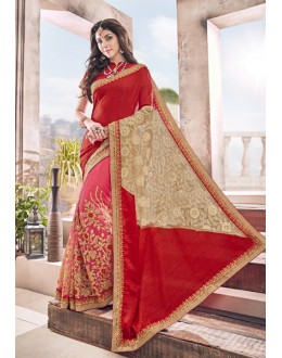 Red & Pink Ethnic Half & Half Saree  - 17966