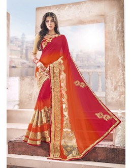 Wedding Wear Multi-Colour Padding Georgette Saree  - 17967