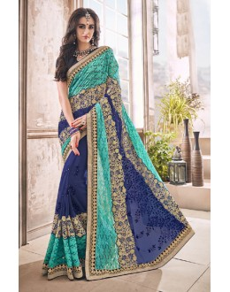 Festival Wear Blue Georgette Saree  - 17968