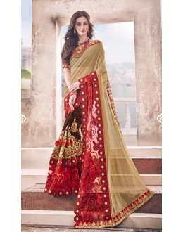 Party Wear Beige & Brown Half & Half Saree  - 17969