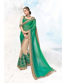 Party Wear Cream & Green Georgette Saree  - 17984