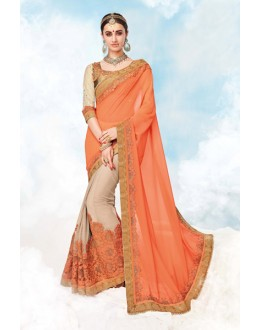 Orange & Cream Georgette Half & Half Saree  - 17985