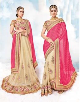 Festival Wear Pink & Cream Georgette Saree  - 17987